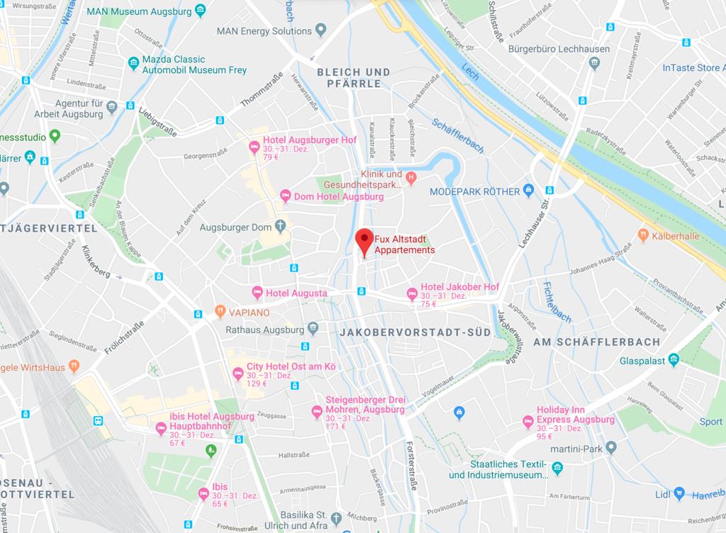 Anreise Altstadt-Appartements Augsburg